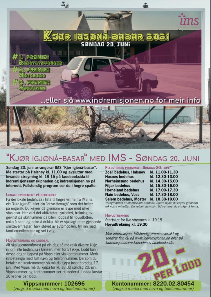 Plakat som viser hvor og når det er basar. Se informasjon på indremisjonen.no.